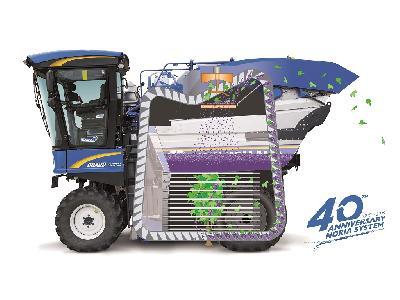 40 años de historia de innovación del sistema de noria con cestas en las vendimiadoras New Holland Braud